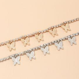 Collar de Mariposa con Diamantes de una Sola Capa
