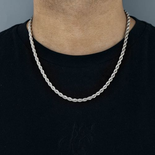 5mm Cadena de Cuerda de Plata