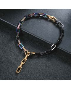 Cadena de Eslabones Rectangulares Multicolores de Acero de Titanio