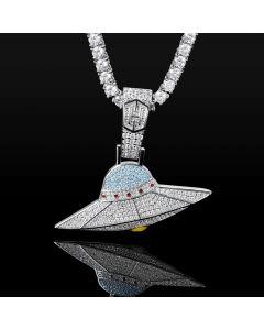 Colgante UFO de Plata con Diamantes